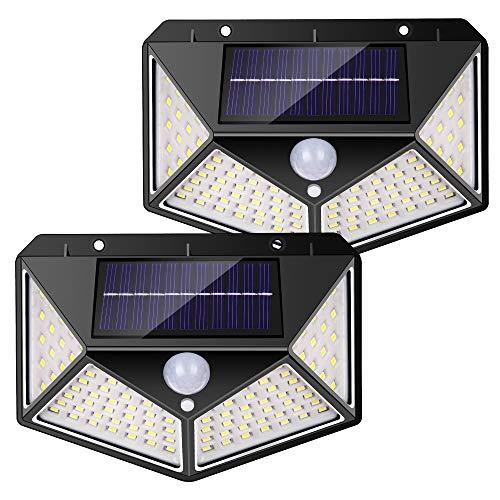nuosife Luce Solare LED Esterno, Lampada Solare, 3 Modalità di Illuminazione, Illuminazione su Quattro Lati a 270 °, 100 LED, Wireless, Impermeabile IP65, Adatto per Giardini, Terrazze, (2pcs nero)