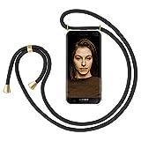 ZhinkArts Handykette kompatibel mit Samsung Galaxy S7 - Smartphone Necklace Hülle mit Band - Handyhülle Case mit Kette zum umhängen in Schwarz - Gold