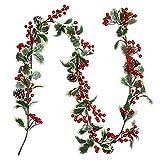 Coxeer Christmas Berry Garland, Christmas Garland Decorative Artificial Hanging Garland...