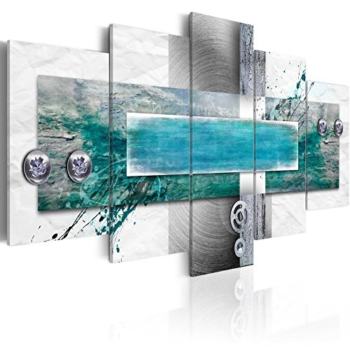 Konda Art - Large 5 Panels Abstract Canvas Wall Art Blue Painting Modern HD Print Picture Home Decorative Framed Artwork Hanging for Living Room Ready to Hang (W60 x H30, Flood Tide)