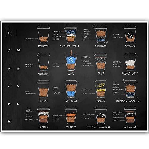 5562 Diseño retro 16 recetas de café letreros de madera arte de la pared   tablero de madera natural impresión cartel decoración de la pared para café/cocina/cafetera