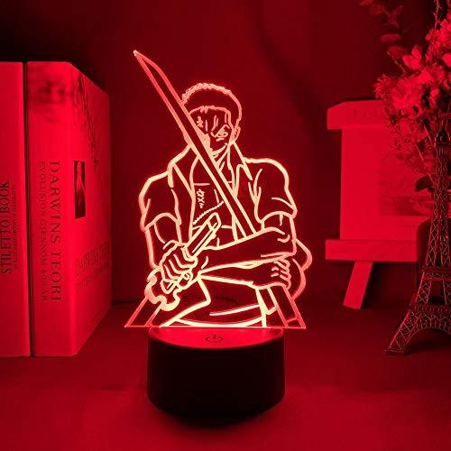 Lámpara de noche 3D Anime Illusion lámpara Anime One Roronoa con figura de espadas luz nocturna para decoración del hogar, regalo de cumpleaños genial para niños lámpara de mesa ZMSY