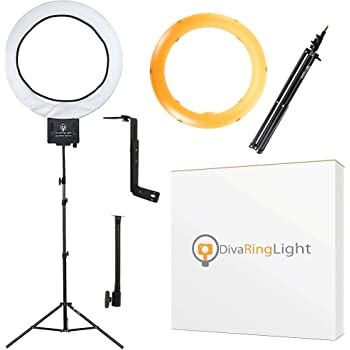 "Diva Ring Light Super Nova 18"" Dimmable w/ 6' Stand - Professional Studio Lighting Kit for YouTube, Facebook Live, Twitch, Photography, and Beauty Blogging"