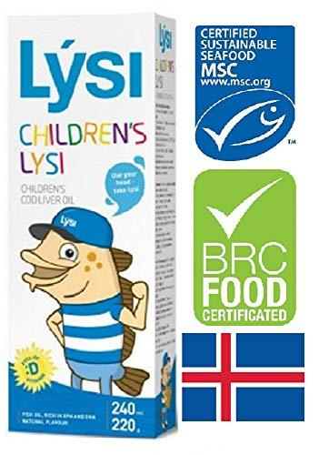 Aceite de hígado de bacalao Lysi - Sabor natural Omega 3 - Rico en EPA, DHA y vitamina A, D, E - 240 ml Fórmula para niños y adultos, Fish Cod Liver Oil
