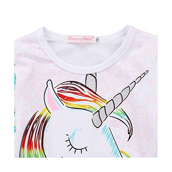 Toddler Kid Baby Girls Tassel Fringe Unicorn Tee Long Sleeve Tops T- Shirt 7