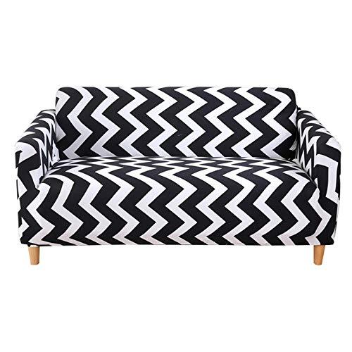 Allenger Funda de Fofá Elástica,Printed Stretch Sofa Cover, Furniture Protector, Machine Washable, Non-Slip Sofa Cushion-Stripes 1_195cm-230cm