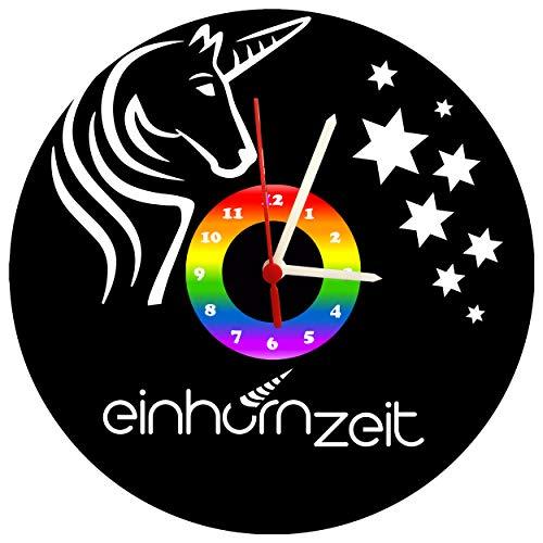 Kinderuhr, Wanduhr, Einhorn, Sterne, Design Schallplattenuhr mit Quarzwerk & Ziffernblatt Regenbogen