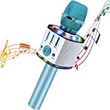 Micrófono Karaoke 5 en 1 Bluetooth Micrófono Niños con luces LED multicolor para cantar, Wireless Portátil Karaoke Player con Altavoz para Android/iOS, PC y Smartphone