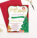 Personalized Jingle and Mingle Christmas Party Invitation, Custom Fun Christmas Party Invites, Kids Holiday Party Invitations, Your choice of Quantity and Envelope Color
