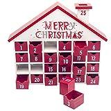 Caja de Dulces Caja de Regalo Navidad mu/ñeco de Nieve y Bosque contenedor Contador AAERP Calendario de Adviento de Madera con iluminaci/ón LED