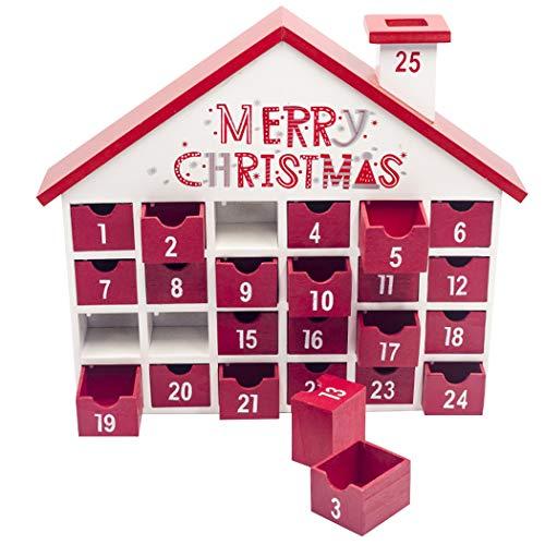 Fansport Calendario de Navidad Multi-Uso Decorativo de Madera Calendario de Adviento con 24 cajones Suministros de Fiesta para decoración de Ventanas