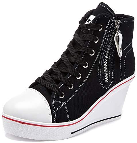 Solshine Damen Canvas Sneaker Wedge Turnschuhe mit 6cm Keilabsatz 689 Schwarz 38EU