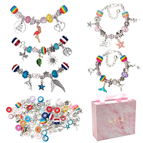 Charm Bracelet Making Kit, 80PCS Jewelry Making Kit with Charms Beads for DIYBracelet JewelryCraft,Jewelry Gift KitFestival PresentBirthday Gift for Girls Teens Age 6-15