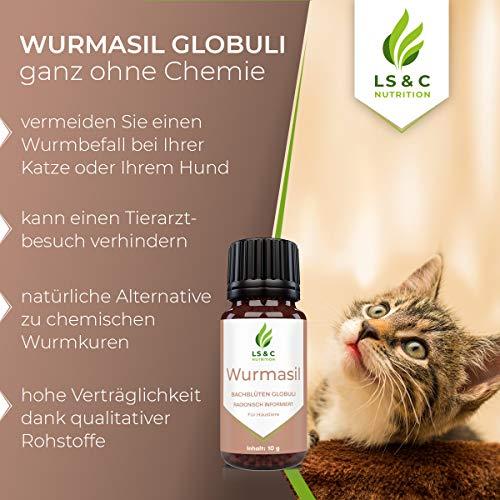 LS&C NUTRITION Wurmasil Globuli   Wurmmittel für Tiere   Wurmkur für Hund & Katze   10g
