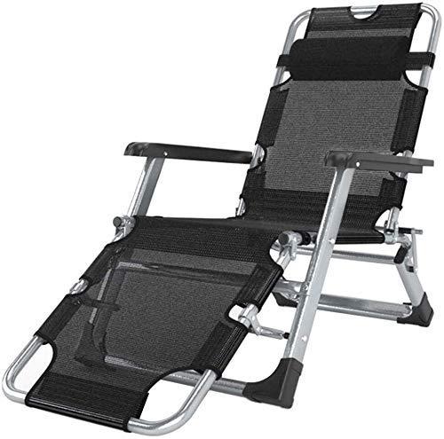 JAKWBR Tumbonas reclinables de gravedad cero para patio, silla reclinable de jardín al aire libre, plegable, mecedora portátil, soporta 200 kg, color negro