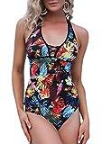 Aibrou Neckholder Tankinis Set Damen Zweiteiler Badeanzug mit Shorts Bauchweg Set Push Up Swimsuit Bademode Schwimmanzug Schlankheits Figurformend Strandmode Beachwear (Drucken 1 M)