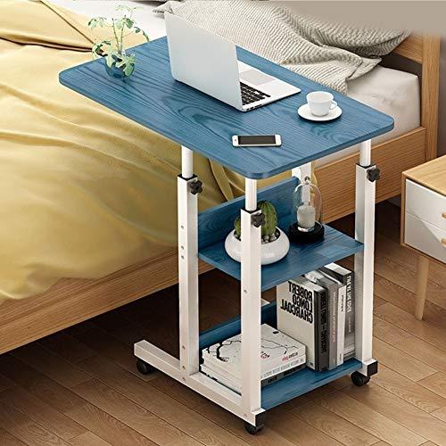 Laptoptisch Mit Rollen, Computertisch Höhenverstellbar, Multifunktionaler Pflegetisch Drehbar Sofatisch, Bett-Beistelltisch for Krankenbett, Pflegebett (Color : B, Size : 60x40cm)