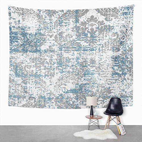 Y·JIANG Tapiz de damasco grunge, azul huevo de pato y beige blanco étnico para el hogar, tapiz grande decorativo, manta ancha para colgar en la pared para sala de estar, dormitorio, 152,4 x 127 cm