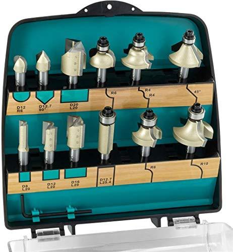 ENT 09012PLUS 12-tlg. HM Fräser PLUS Set in bruchfester Kunststoffkassette - Oberfräser mit Schaft 8 mm - Nutfräser mit HW-Grundschneide zum Einbohren