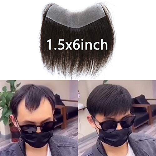 Price comparison product image ZigZag Hair Men's Hairline Toupee 1.5x6inch V-Shape Brazilian Virgin Human Hair Toupee Soft Thin Skin Mens Hairpieces Hair Replacement System (1.5x6inch)