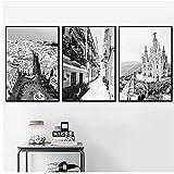 YQQICC Madrid España Cartel de arte de pared Paisaje de la calle Lienzos en la pared Carteles e impresiones para la sala de estar Decoración del hogar Imágenes-40x50cmx3 Sin Marco