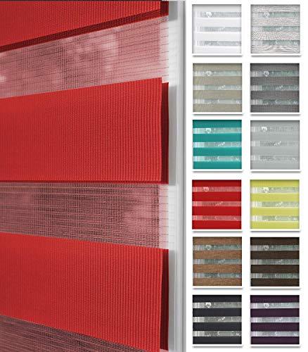 Home-Vision® Duo Rollo nach Maß, Doppelrollo ohne Bohren mit Klämmträgern, Rollos für Fenster und Türen (Rot, B40-44cm x H150cm)