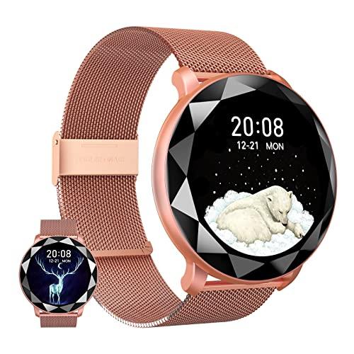 BNMY Smartwatch Mujer Reloj Inteligente IP67 con Modos De Deporte, Pulsómetro, Monitor De Sueño, Notificaciones Inteligentes, 1.09 Pulgadas Reloj Deportivo para Android iOS,Oro