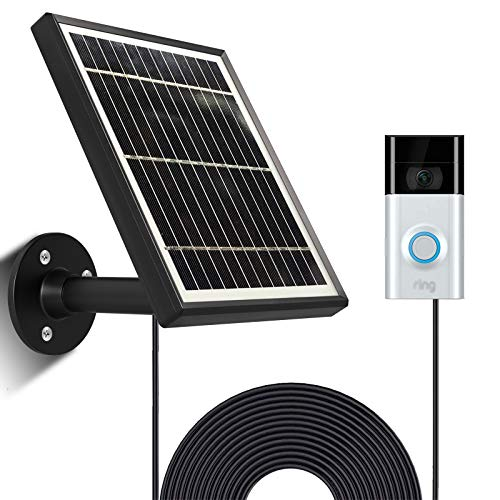 Uncle Squirrel Solar Panel Compatible with Ring Video Doorbell 3/3 Plus, Waterproof Charge Continuously, 5 V/ 3.5 W (Max) Output, Includes Secure Wall Mount, 4.9M/16 ft Power Cable