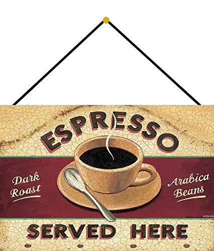 Metalen bord 20x30cm gebogen met koord espresso koffie koffie bar koffie Arabica bonen decoratief geschenk bistro