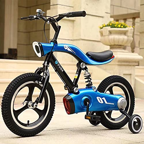 Bicicleta infantil de 16 pulgadas para hombres y mujeres, bicicleta BMX con luces LED, neumáticos gruesos, marco de acero de calidad aeronáutica, adecuada para niños con 110 – 145 cm (azul)