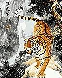 N/W Lienzo DIY Pintura Al Óleo Manualidades para Pintar Pintura por Numeros Adultos Niños - Tigre Animal 40X50Cm