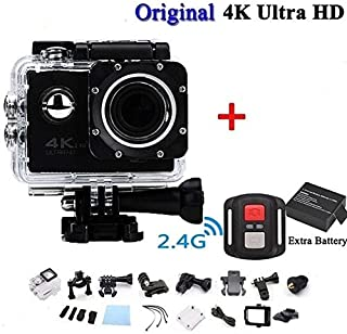 ClookYuan Pro CAM Sport Action con Telecomando Camera 4k Videocamera WiFi Ultra HD 16mp DVR Sports Outdoor Diving Videocámara para Bicicleta - Negro