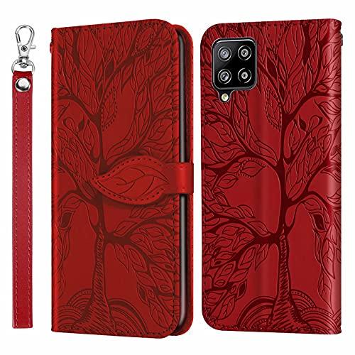 MUTOUREN Funda para Samsung Galaxy A42 5G - Carcasa Folio PU Cuero Flip Cover Wallet Case Anti-rasguños Protectora Bolsillo Carteras, con Protector de Pantalla - Rojo