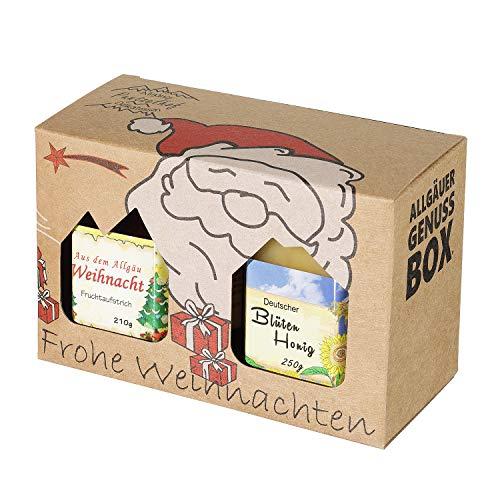 Weihnachts Genuss-Box - Feinkost Geschenk-Set - 210g Weihnachtsmarmelade und 250g Deutscher Honig - Weihnachtlicher Geschenkkarton