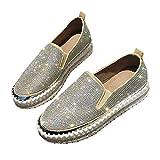 Señoras Zapatos Planos Casuales Ocio Elegante Diamante de imitación Superior Primavera Verano Mocasín Zapatos Antideslizantes Suaves Mocasines Bajos Zapatos al Aire Libre