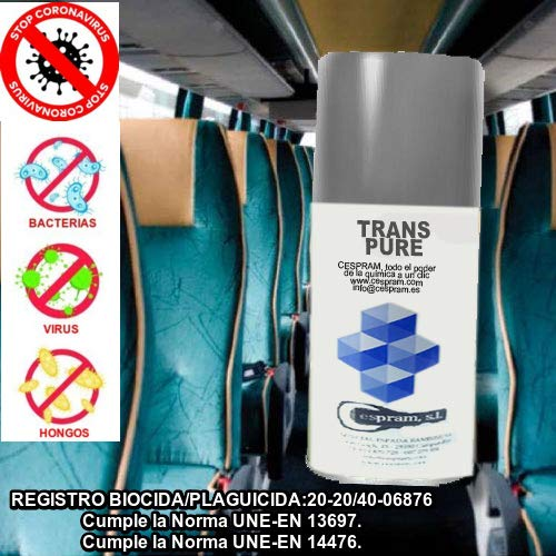 Spray desinfectante descarga total con REGISTRO SANITARIO.Trans Pure.Aer 140cc