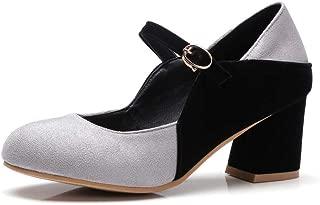 BalaMasa Womens APL11817 Imitated Suede Mary Jane Heels