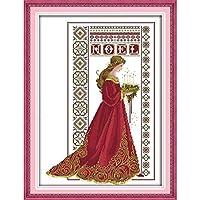 クロスステッチ, クロスステッチキット,美容天使、刺繍キット、寝室装飾絵画、イージーパターン刺繍キットの女の子の工芸品 (Size : 14CT white cloth 41×53CM)