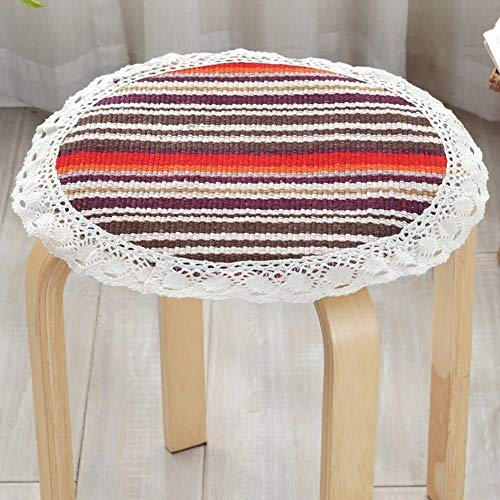 Set Of 4 Chair Cushions Round Non Slip Seat Cushion Lace Cotton Linen Seat Pad Round Four Season Round Stool Cushion Yoga Meditation Balcony Office (Color : C, Size : Diameter:35cm(14inch))