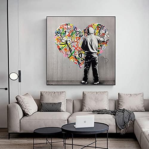 Graffiti Art Street Pop Art Love Shape lienzo pintura Cuadros carteles impresión arte de pared para la decoración del hogar de la sala de estar 40x40 CM (sin marco)