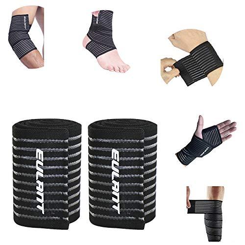 EULANT - 2 fasce elastiche per gomiti, 90 cm, per polsi e ginocchia, per caviglie