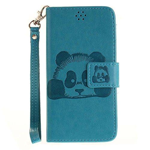 Huawei Y3 II Hülle Huawei Y3 2 Hülle, COOSTOREEU Handyhülle Schutzhülle Tasche mit Panda Muster Kartenfach Standfunktion Magnetlasche für Huawei Y3 II / Huawei Y3 2, Blau