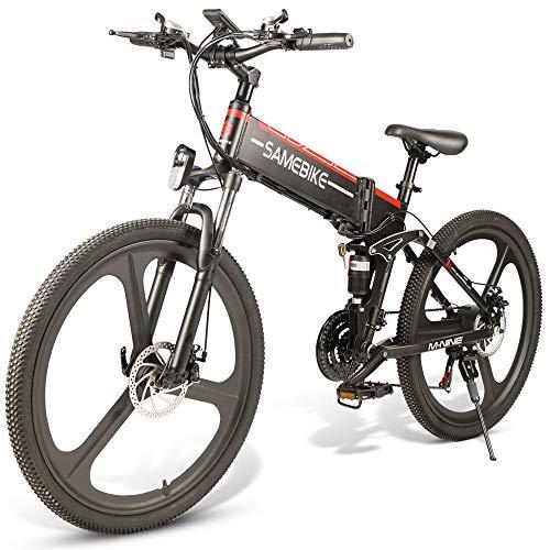 OUXI LO26 Bicicleta de montaña para Adultos, Bicicletas eléctricas Plegables con neumáticos mejorados de 26 Pulgadas y batería extraíble de Gran Capacidad de 48V 10.4AH, Velocidad máxima de 30 km/h
