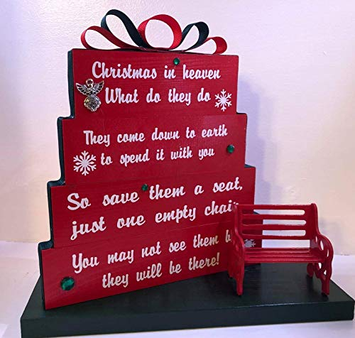 Christmas in Heaven, save them a seat, one empty chair, Christmas Red with red and green ribbon, green rhinestones and snowflakes with small red detailed bench.