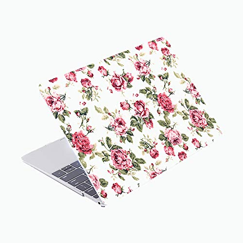 SDH Only Compatible Older MacBook Pro 13 Inch Case Model A1278 CD-ROM Early 2012-2008 Release, Plastic Pattern Hard Shell & Laptop Sleeve Bag & Gradient Keyboard Cover, Roses 2