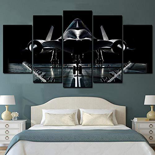 KOPASD Art Enlienzo Póster Aeronave Militar 5 Piezas Pared Mural para Decoracion Cuadros Modernos Salon Dormitorio Comedor Cuadro Impresión Piezasmaterial