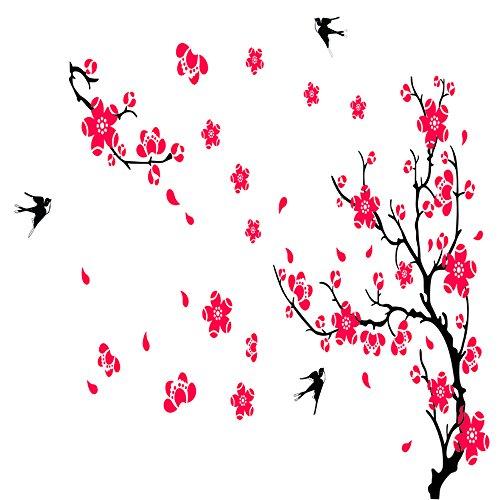 winhappyhome Prune Fleur Magpie Art Mural Stickers pour chambre d'enfants Salon Chambre TV Fond DIY amovible Décoration Nail Art