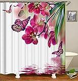 Shocur Duschvorhang, Motiv: Naturlandschaft, rote Pfirsichblüte & Schmetterling auf dem See Wasser, 183 x 183 cm, Blumenmotiv, Badvorhang, Polyester-Stoff, Badezimmerdekor-Set mit 12 Haken