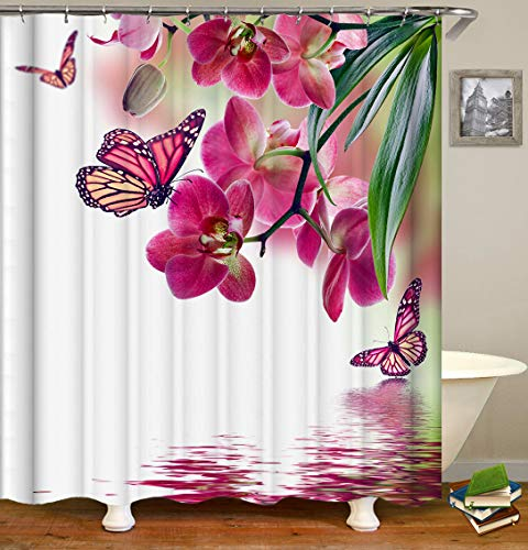 Shocur Nature Scenery Shower Curtain, Pink Red Orchid Blossom and Butterfly on The Lake Water, 72 x 72 Inches Floral Theme Bath Curtain, Polyester Fabric Bathroom Decor Set with 12 Hooks