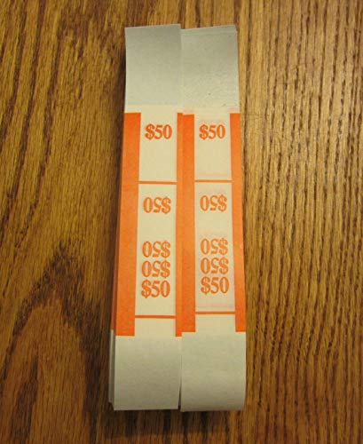$50 Orange 200 SELF Sealing Currency Straps Money Bill Bands PMC Company